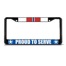 BRONZE STAR PROUD TO SERVE Black Heavy Duty Metal License Plate Frame Tag