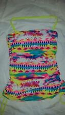 NWT! $42 GOSSIP MIX TAPE TANKINI SWIM TUBE TOP HALTER BANDEAKINI *S YELLOW MULTI