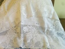 French vintage white  cotton and lace table cloth with poodle designs