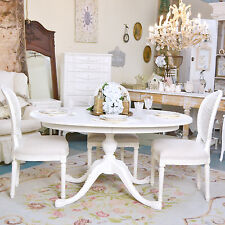 Shabby Cottage Chic White Oval Pedestal Dining Table French Vintage Style Roses