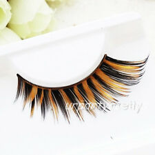 Handmade Thick Feather Black Brown False Eyelashes Eye Lashes Makeup