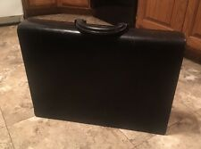 TUMI Italy Black Leather Hard Briefcase w/Combo Side Locks