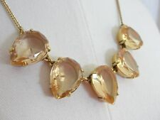 J.Crew Teardrop Crystal Necklace Peach Pink Gold Statement Jewelry Pear