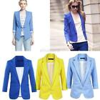 Casual Women Fashion Candy Color Slim Solid Suit Blazer Jacket Coat Outwear E97