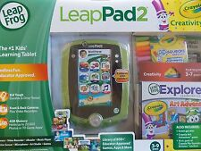 LEAP FROG~LEAPPAD 2  LEARNING TABLET GREEN EXPLORER~ CRAYOLA CREATIVITY PACK~NEW