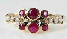 STUNNING ENGLISH MADE 9K GOLD ART DECO RUBY-PEARL RING