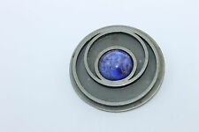 Vintage DENMARK Modernist BENT LARSEN DESIGNS Lapis Pewter Pendant For Necklace