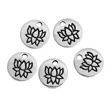 Silver Lotus Blossom Charms 8mm 20 Pieces, Buddha, Yoga, S0083455, Tiny Charms