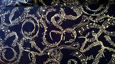 Timeless Treasure cotton fabric Gold music notes FQ quilting Cornish