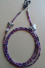 Spectacle/Glasses Chain Butterfly  & Glass Moonstone  Bead Mixed Lilac Purple