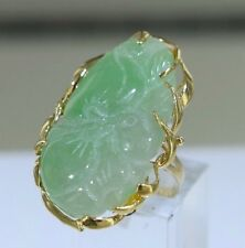 Carved Green Jade 14k Yellow Gold Custom Design Ring Size 7 (10.95 grams)