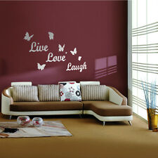 DIY Butterfly Live Love Laugh Mirror Acrylic Wall Sticker Home Decal Art Decor