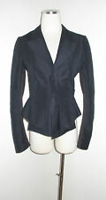 MARNI NAVY LINEN BLEND GRAY COTTON INSET SLEEVES BLAZER JACKET 44