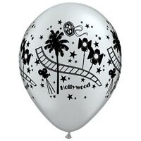 """Hollywood Stars 11"""" Silver Qualatex Licensed Latex Balloons Movie Film Party"""