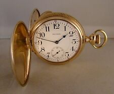 "ANTIQUE WALTHAM ""VANGUARD"" 23j 10k GOLD FILLED HUNTER CASE SIZE 18s POCKET WATCH"