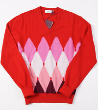 NWT $995 BALLANTYNE 100% Cashmere Hand Made Intarsia Sweater S/M Pink Argyle