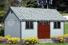 Shed Plans 16' x 20' Reverse Gable Roof Style #D1620G, Material List Included