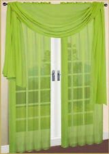 "SET OF 2 SHEERS VOILE CURTAINS 84"" LONG LIME GREEN"