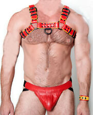 MENS LEATHER CHEST HARNESS GAY Men's yellow,Red Leather Harness 38,40,42 to 48