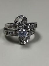 Gorgeous and Unique 10KT White gold filled Wedding ring Set Size 7