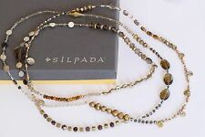 "Silpada ""Harvest"" Long 54"" Pearl Quartz Sterling Silver Brass Necklace N3108"