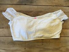 White Lace~X-SMALL~Victoria's Secret CROP TANK Bikini Swimsuit Top VS NEW!