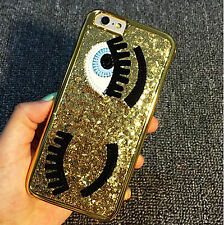 Gold Flirty Wink Eyes Bling PC Hard Case For iPhone 7 Plus Great for Party Cute