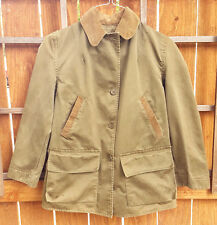 Vtg Montana Cloth Hunting Jacket-Corduroy Collar-Green-M-Made in N.Y. USA-Button