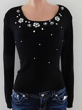 New Molly Bracken Sweater with Rhinestone Studs Black Size Small