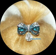 PUPPY BOWS ~WEE TINY bow dangle BLUE boy dog PET HAIR CLIP  barrette  ~US SELLER