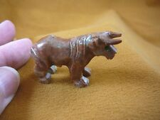 (Y-BUL-8) Red Tan Bull steer cow SOAPSTONE carving figurine STONE farm animals