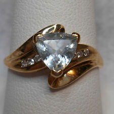 Estate~Genuine Aquamarine & Diamonds 10k Yellow Gold Ring Size 8.5  Retail $875