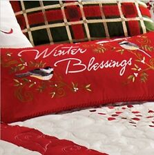 WINTER BLESSINGS BIRDS PILLOW : CHRISTMAS RED EMBROIDERED HOLLY TOSS CUSHION