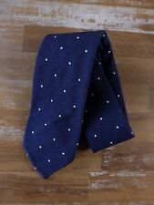 auth DRAKE'S Drakes of London blue polka dots silk tie - New with Tags