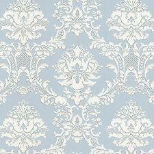 Victorian Damask Silvery Blue Wallpaper Double Roll Bolts FREE SHIPPING