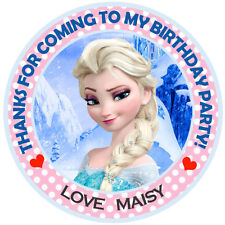 Personalised Frozen Princess Elsa Round  50mm Stickers Party Thank You Seals