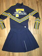 "Authentic Cheerleader Uniform Outfit Cheer Costume Top M 24"" Skirt Sharks Navy"