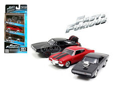 """FAST AND FURIOUS"" DOM'S RIDES 3 PACK SET CHARGER CHEVELLE 1/55 BY JADA 97426"