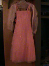 Cinderella Couture,Coral Embellished Pageant, Flower Girl Dress w/ Scarf,Size 10