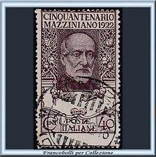 1922 Italia Regno Mazzini 40 cent. violetto bruno n. 129 Usato