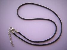 "18"" Satin Necklace Cord Black with 2"" Extender Chain 18""-20"""