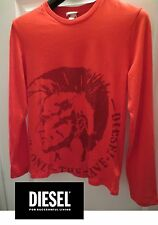 DIESEL Boy's size XLarge Red Tidety long-sleeve ONLY THE BRAVE Crew Neck T-SHIRT