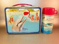 Vintage 1966 King Seeley Thermos Co. FLIPPER TV Show Metal Lunchbox & Thermos