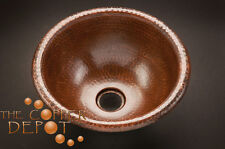 "SMALL 12"" COPPER ROUND DROP-IN HAMMERED  BATHROOM SINK"