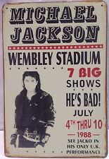 Michael Jackson Wembley Stadium Vintage Metal Sign Home Decor Studio Pub Garage