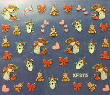 Nail Art 3D Decal Stickers Christmas Snowman Hearts Bows Santa Holidays XF375