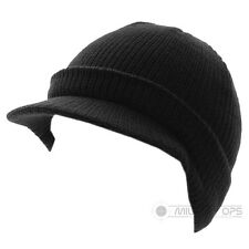 KNITTED HAT WITH PEAK JEEP CAP SKIP CAP BLACK MILITARY ACRYLIC
