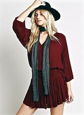 NWT Free People plum wine Dropwaist Smock Waist Light My Fire Mini Tunic Dress L