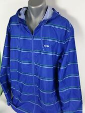 OAKLEY☆ Lightweight Hydro Free Blue Striped Windbreaker Hoodie Jacket men's 2XL