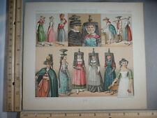 Rare Antique Orig VTG France Ladies Costumes Hat Headress Color  Litho Art Print